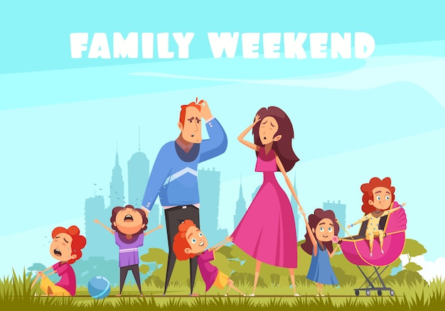 Family weekend in nature with little crying kids and depressed parents flat vector illustration Free Vector