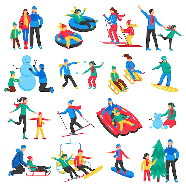 Family winter sports icons set Free Vector