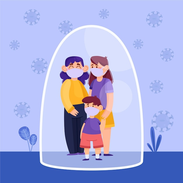Family with child protected from the virus Free Vector