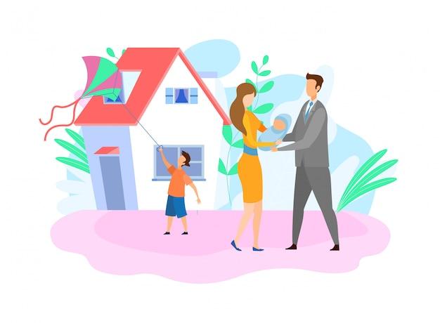 Family with children flat vector illustration Premium Vector