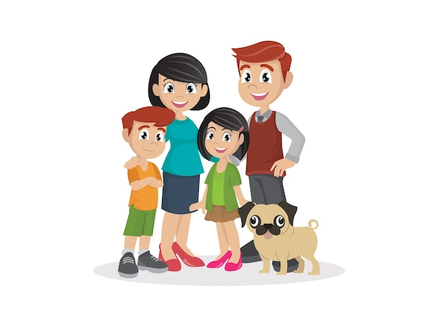 Family with children. Premium Vector