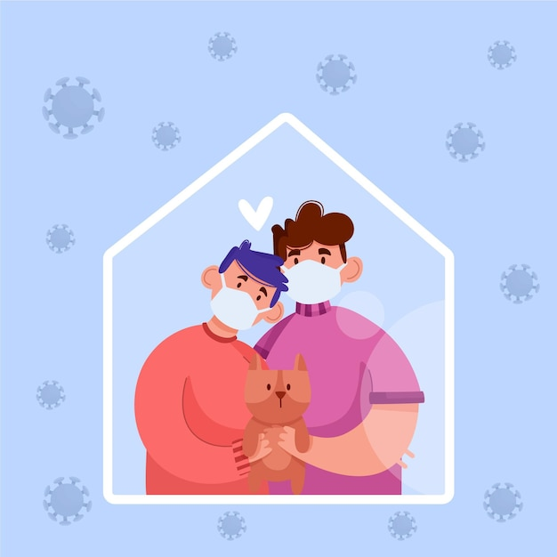 Family with dog protected from the virus Free Vector