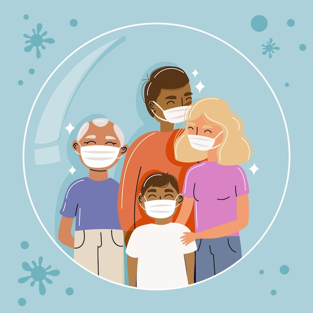 Family with face masks protected from the virus Free Vector