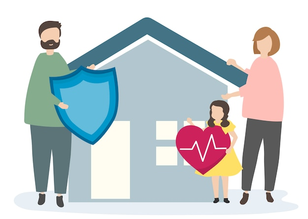 Family with home insurance and security Free Vector