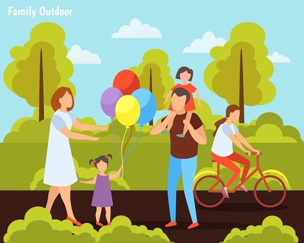 公園で子供たちと家族 無料ベクター