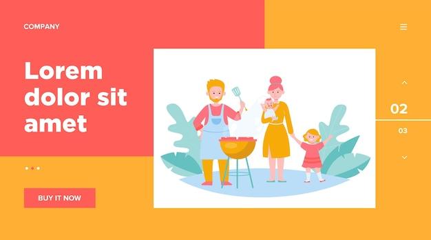 Famiglia con bambini grigliare carne barbecue all'aperto. Vettore gratuito