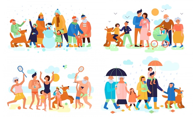 Family with kids parents and grandparents outdoor in summer winter spring autumn flat compositions Free Vector