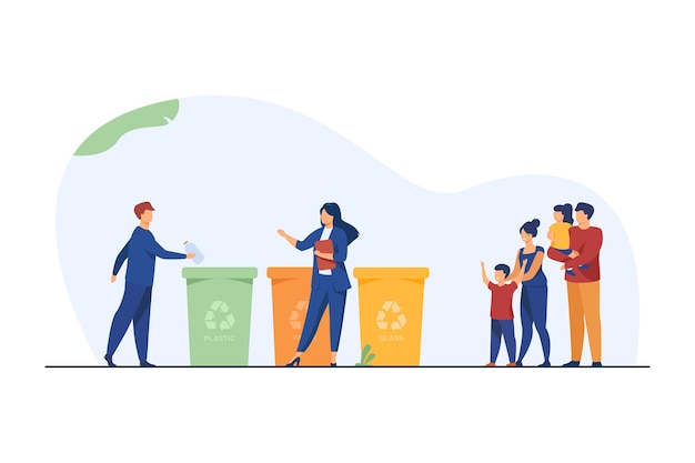 Family with kids watching garbage sorting Free Vector