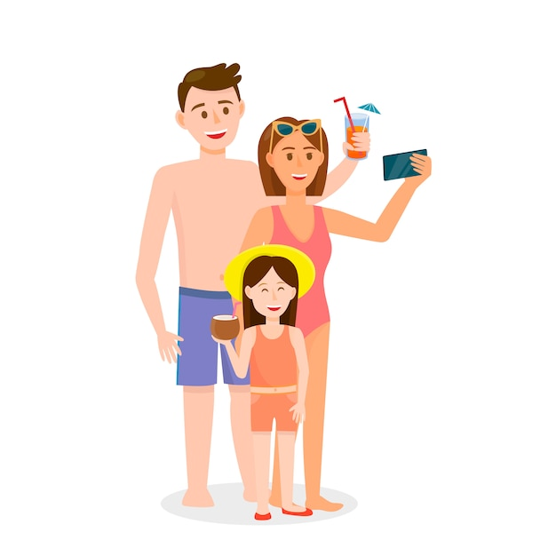 Family with little daughter making selfie on beach Premium Vector