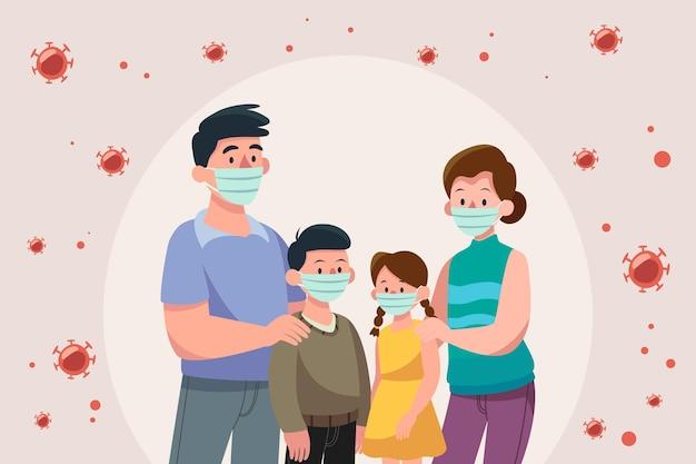 Семья с медицинскими масками защищена от вируса Бесплатные векторы