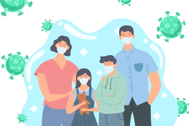 Family with medical masks protected from the virus Free Vector