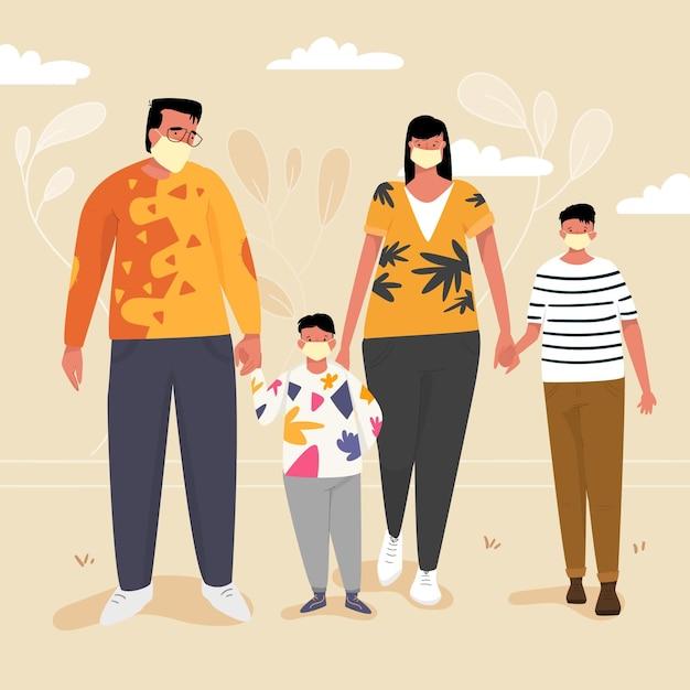 Семья с родителями и детьми в масках на открытом воздухе Premium векторы