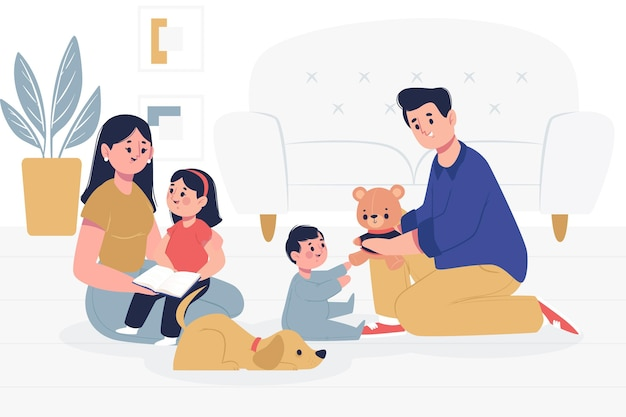 Family with pets spending time together Free Vector