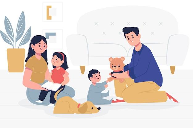 애완 동물과 함께 시간을 보내는 가족 무료 벡터