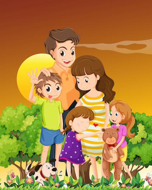 Family with pets in the sunset scene Free Vector