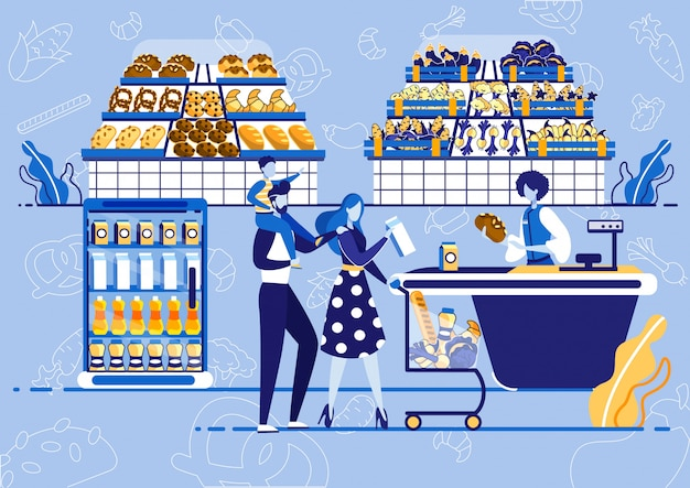 Family with shopping cart buying product at store. Premium Vector