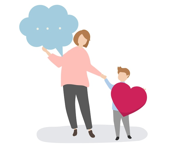 Family with speech bubble and heart Free Vector