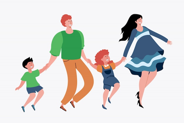 Family with two children having fun Free Vector