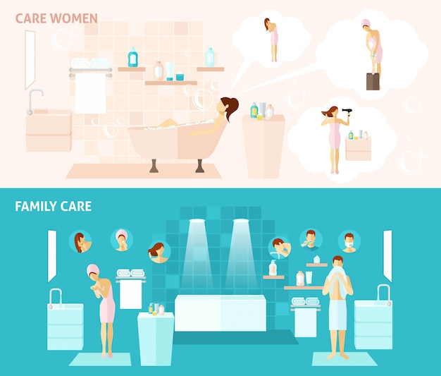 Family and woman care banner Free Vector