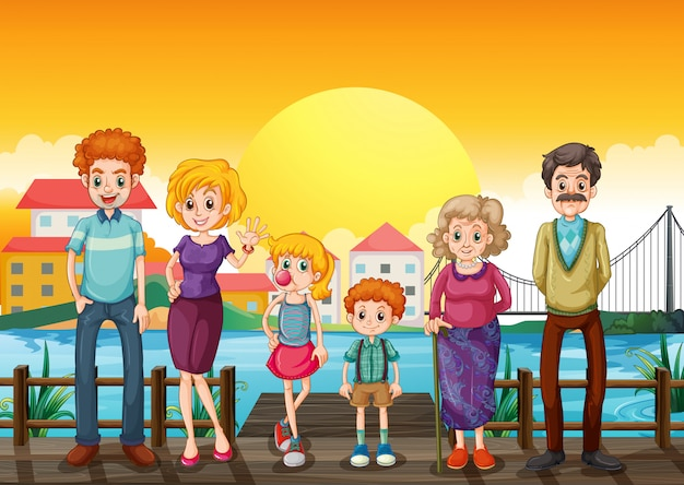 A family at the wooden bridge across the village Free Vector
