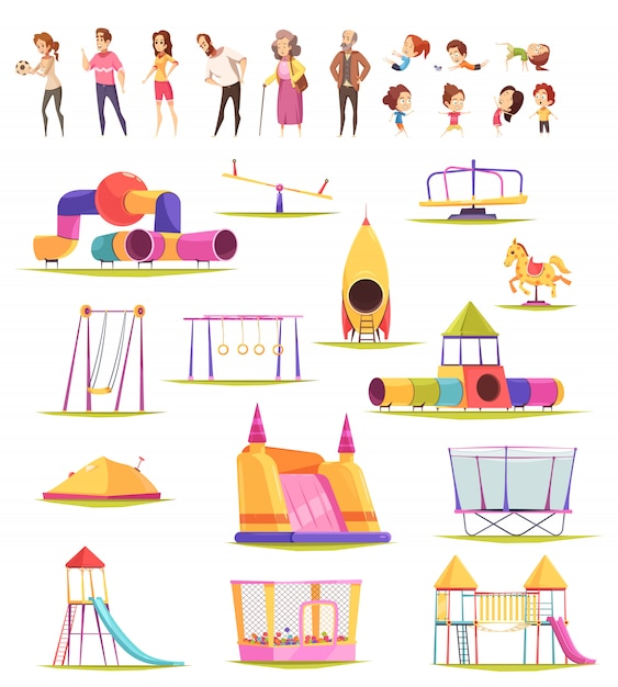 Family yard elements collection Free Vector