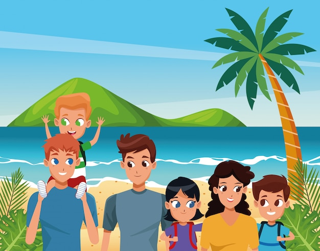 Family young parents with children cartoon Premium Vector