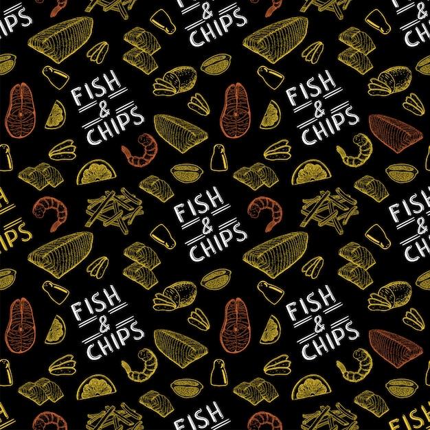 有名なイギリスのファーストフードのフィッシュアンドチップス。フィッシュアンドチップスのシームレスなパターン。 Premiumベクター