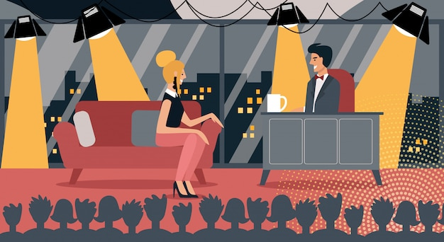Famous celebrity late night talk show host discuss Premium Vector