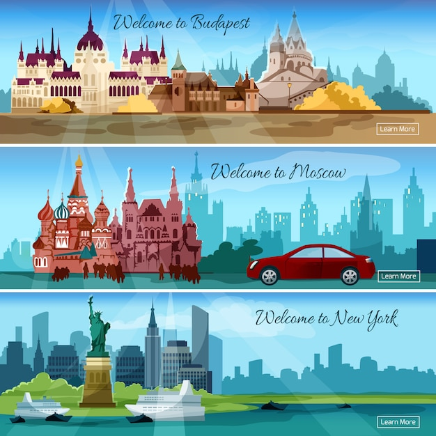 Famous cities banners Free Vector