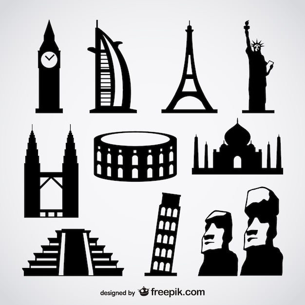 Famous foreign buildings vector Free Vector