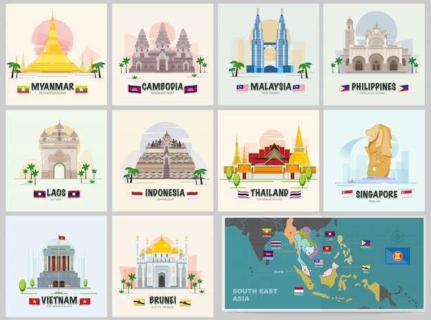 Famous landmark in asean Premium Vector