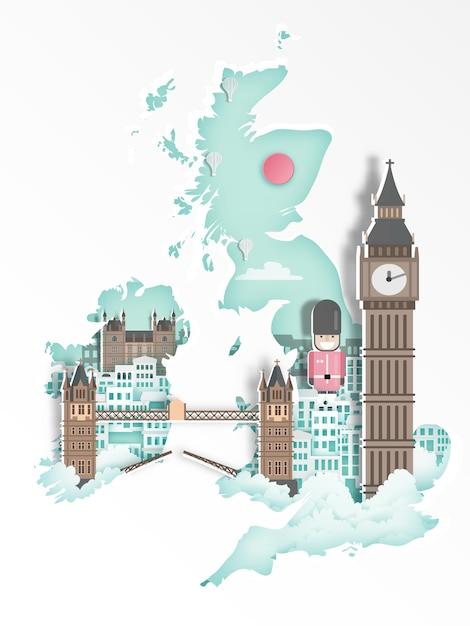 Famous landmark for travel poster, paper art style. Premium Vector