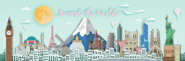 Famous landmark for world travel  in paper art style. Premium Vector