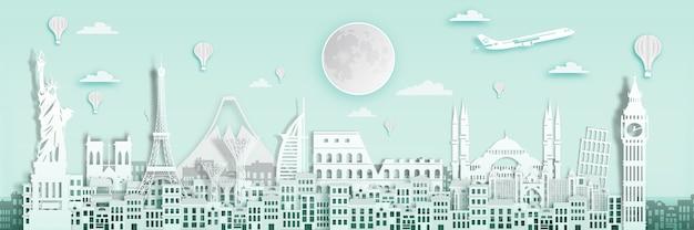 Famous landmark for world travel poster, england, france, spain in paper art style. Premium Vector