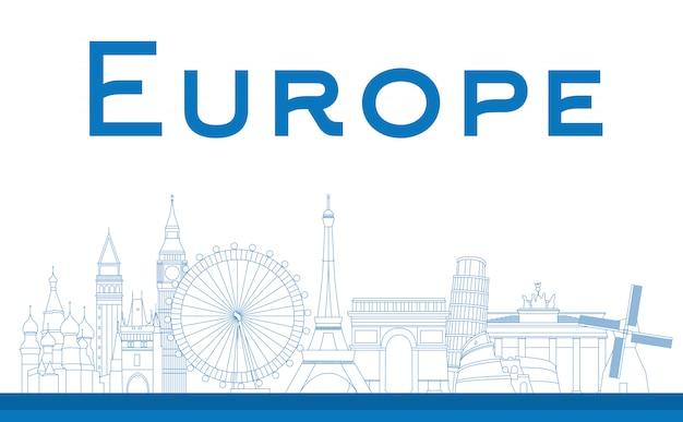 Famous landmarks in europe Premium Vector