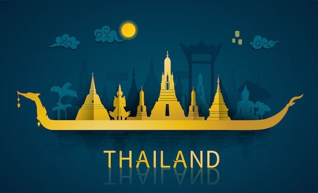 Famous landmarks and tourist attraction of thailand with paper cut style Premium Vector