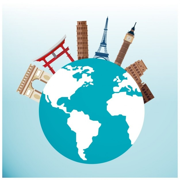 Famous monuments around the globe Free Vector