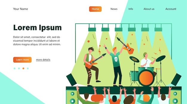 Famous rock band playing music and singing at stage flat illustration. Free Vector
