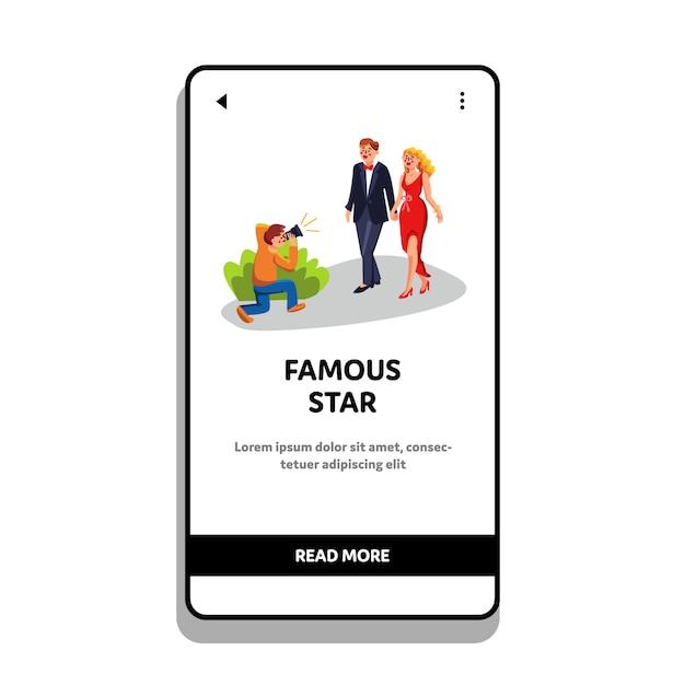 Famous star couple photographing paparazzi Premium Vector
