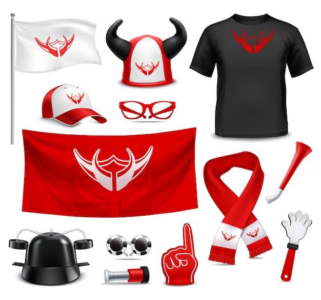 Fan buff gear accessories realistic set Free Vector