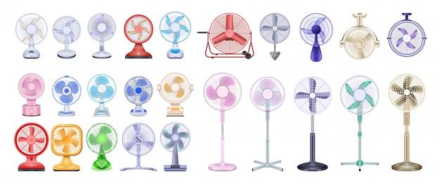 Вентилятор реалистичный набор иконок. вентилятор иллюстрации на белом фоне. реалистичный набор значок вентилятора. Premium векторы