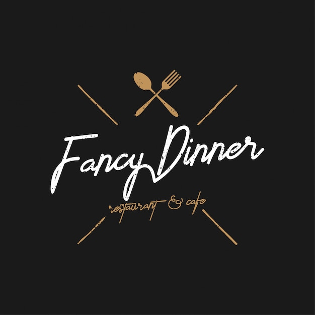 Fancy dinner logo vintage Premium Vector