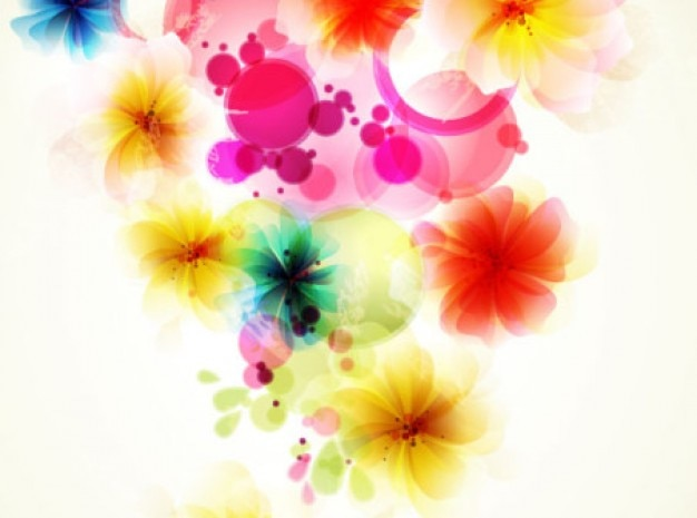 Fancy flowers abstract art background vector set Free Vector