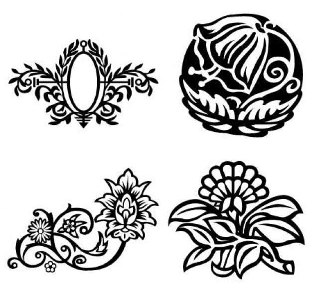 Fancy flowers, floral oval frame vectors Free Vector