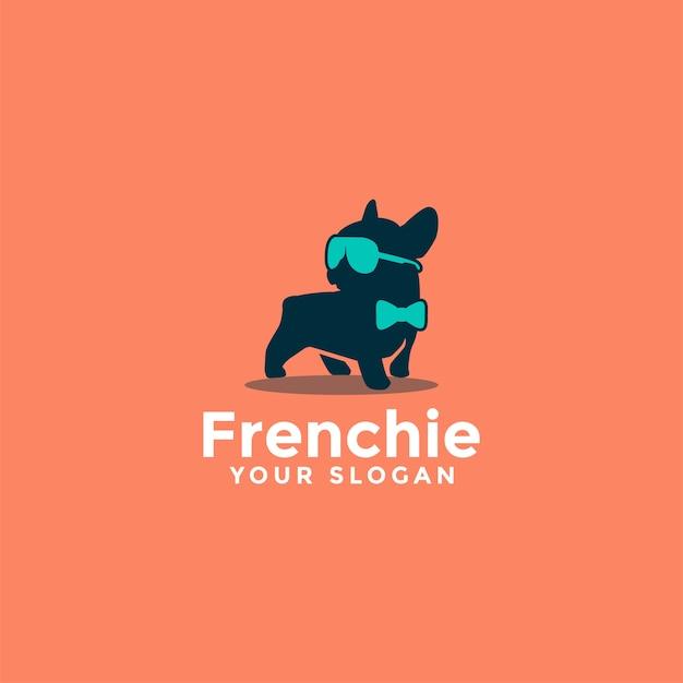 Fancy french bulldog logo Premium Vector