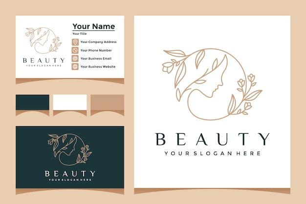 ラインアートスタイルのロゴと名刺と派手な女性の花の顔。ビューティーサロン、マッサージ、スパ、化粧品用 Premiumベクター