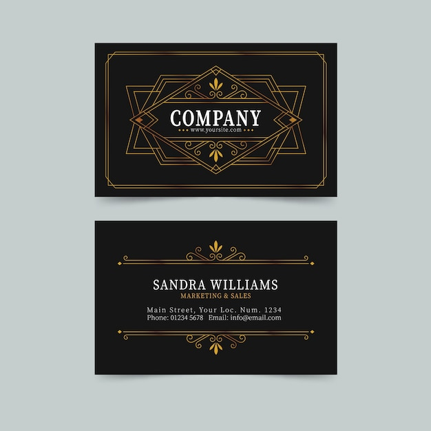 Fancy lines elegant visiting card template Free Vector