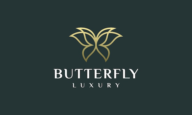 Fancy logo butterfly outline vector illustration Premium Vector