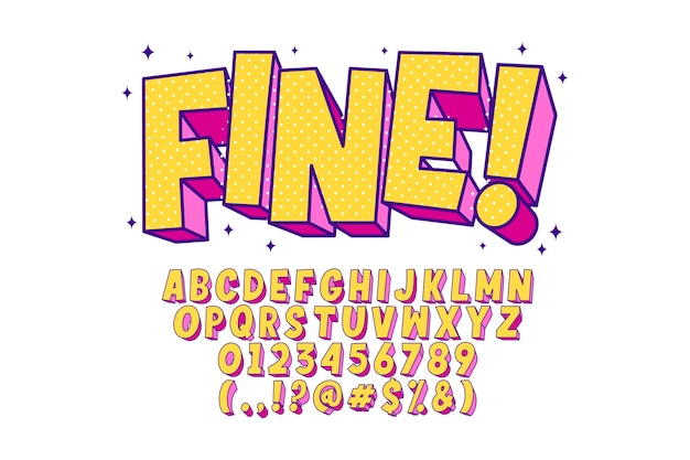 Fancy pop art alphabet Free Vector