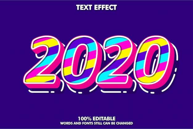 멋진 팝 아트 텍스트 효과, 새해 2020 배너 프리미엄 벡터